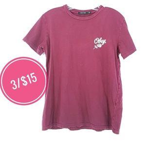 3/15 Obey Burgundy Purple Roses Short Sleeve Tee